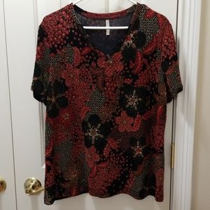 White Stag red print blouse sz XL (16/18)